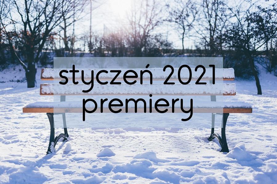 """Napis na tle zaśnieżonego praku """"styczeń 2021 premiery"""""""